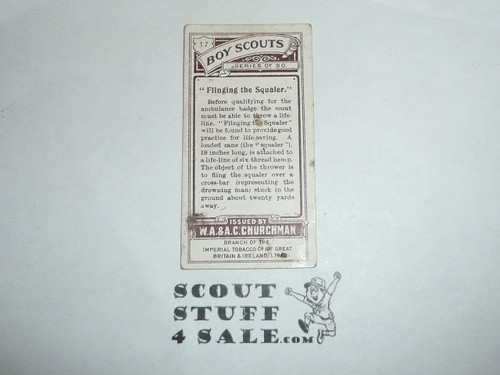Churchman Cigarette Company Premium Card, Boy Scout Series of 50, Card #17 Flinging the Squaler, 1916