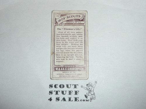 Churchman Cigarette Company Premium Card, Boy Scout Series of 50, Card #20 The Fireman's Lift, 1916, worn