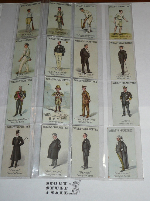 Wills Cigarette Company Premium Card, Vanity Fair Series of 50 Unnumbered, COMPLETE Set, 1902