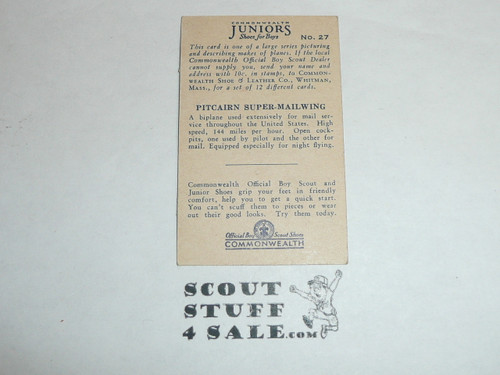 Commonwealth Shoe Company, Makers of Boy Scout Shoes, Boy Scout Airplane Card Series of 50, #27 Pitcairn Super-mailwing , 1930, tape on card