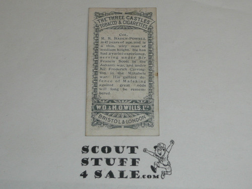 W. D. & H. O. Wills Cigarettes Tobacco Premium Card, Transvaal Series, Col. Baden Powell, minimal wear