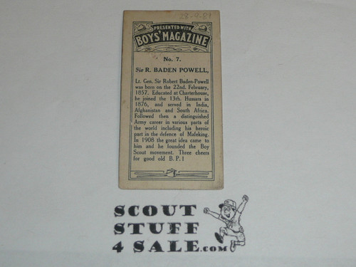 Boys' Magazine Premium Card, Sir R. Baden Powell, minimal wear, Very RARE
