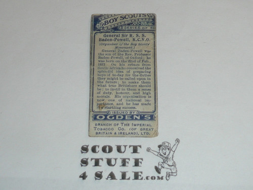 Ogden's Imperial Tobacco Co. Premium Card, Boy Scout Series, General Sir R. S. S. Baden Powell