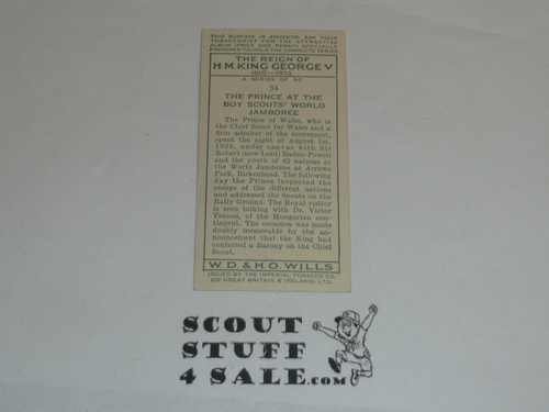 W. D. & H. O. Wills Cigarettes Tobacco Premium Card, The Reign of King George V Series, The Prince at the 1929 World Jamboree with Baden Powell, minimal wear