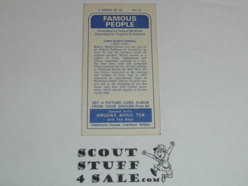 Brooke Bond Tea Premium Card, Famous People Series, Lord Baden Powell, minimal wear