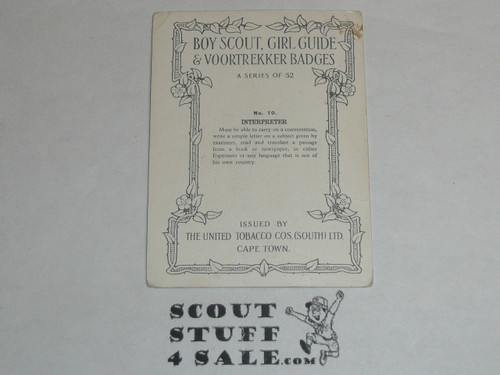 The United Tobacco Company Premium Card, Boy Scout Girl Guide & Voortrekker Badges Series of 52, Card #10 Interpreter