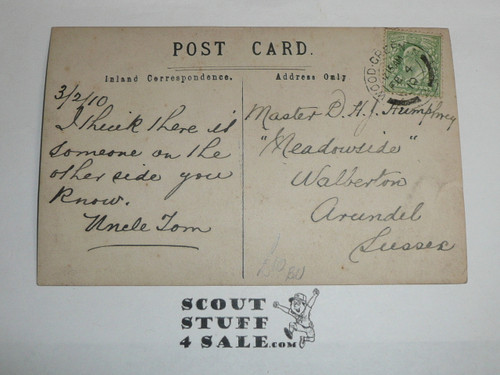 1910 British Boy Scout Postcard, Photo Postcard of North London BP Scouts