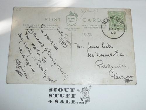 1909 British Boy Scout Postcard, colorized Photo Postcard, Boy Scout Ambulance Work