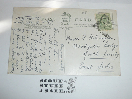 1908 British Boy Scout Postcard, colorized Photo Postcard, Boy Scouts An Attack