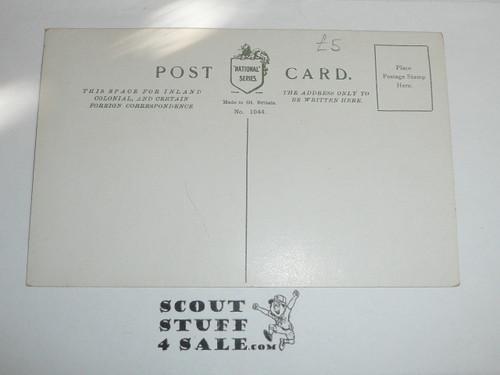 1909 British Boy Scout Postcard, colorized Photo Postcard, Boy Scouts Semaphoring Letter I, unused