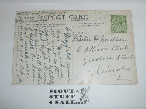 1913 British Boy Scout Postcard, Remember to Knot your Necktie and do a Good Turn to Somebody