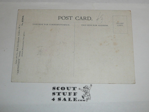 1914 British Boy Scout Postcard, What Little We Do We're Doing Well