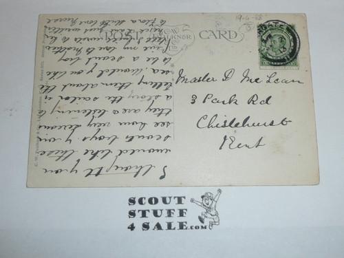 1910 British Boy Scout Postcard, An Appreciative Audience, by Ibbetson