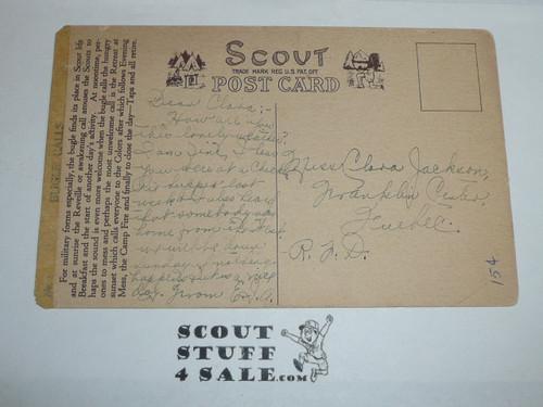 1914 Scout Gum Company 12 Postcard Boy Scouts Of America Set, Card #1 Bugle Calls