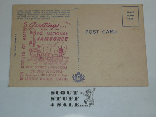 Chicago Union Stock Yards Postcard with a welcome to the 1953 National Jamboree Stamp on the back