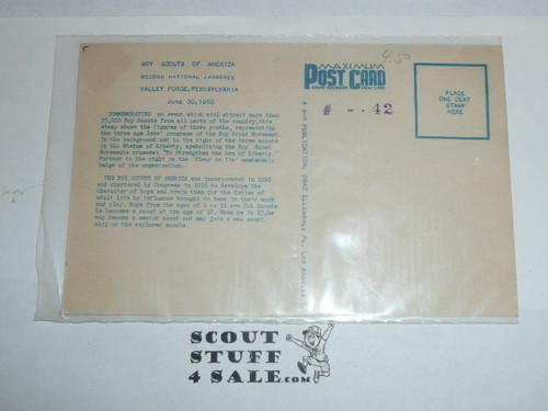 1950 National Jamboree Postcard celebrating the 3 cent Boy Scout Stamp