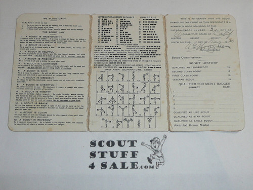 1921 Boy Scout Membership Card, 3-fold, with the Envelope, 5 signatures, expires April 1921, BSMC1