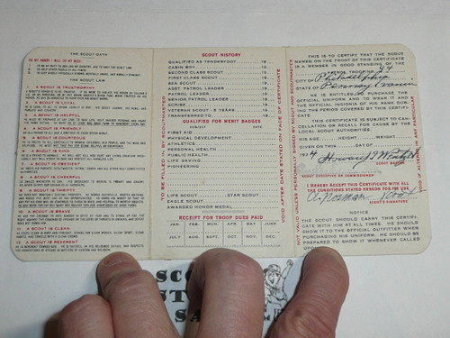 1924 Boy Scout Membership Card, 3-fold, with the Envelope, 7 signatures, expires December 1924, BSMC6