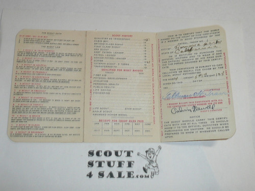1925 Boy Scout Membership Card, 3-fold, with the Envelope, 7 signatures, expires March 1925, BSMC7