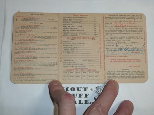 1927 Boy Scout Membership Card, 3-fold, 7 signatures, expires April 1927, BSMC10