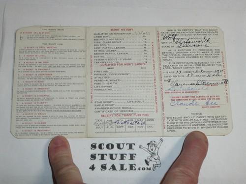 1928 Boy Scout Membership Card, 3-fold, 7 signatures, expires October 1928, BSMC11