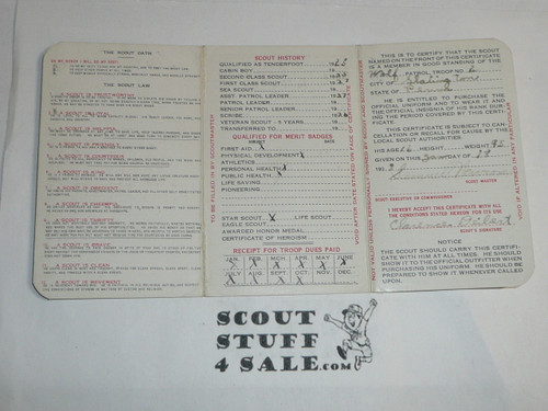 1928 Boy Scout Membership Card, 3-fold, 7 signatures, with envelope, expires December 1928, BSMC12
