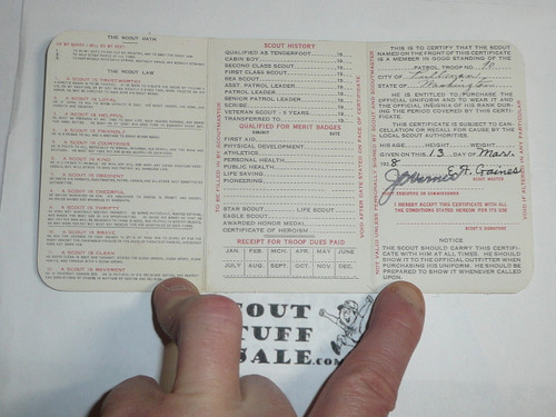 1928 Boy Scout Membership Card, 3-fold, 7 signatures, with envelope, expires December 1928, BSMC13