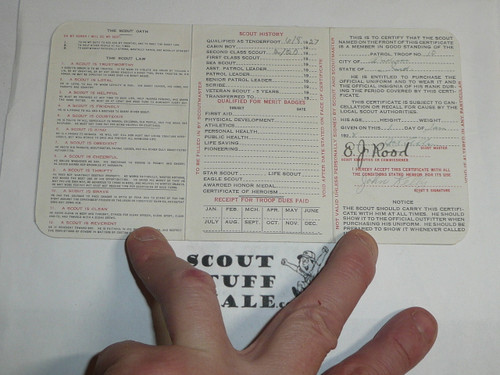 1929 Boy Scout Membership Card, 3-fold, 7 signatures, with envelope and West message, expires January 1929, BSMC14