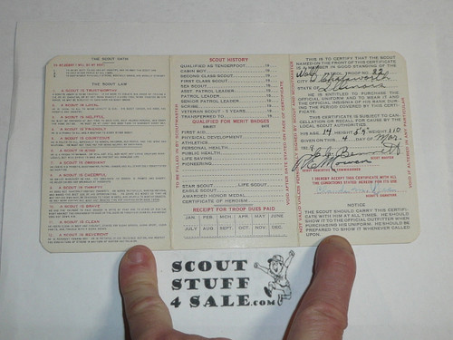 1929 Boy Scout Membership Card, 3-fold, 7 signatures, with envelope and West message, expires October 1929, BSMC15