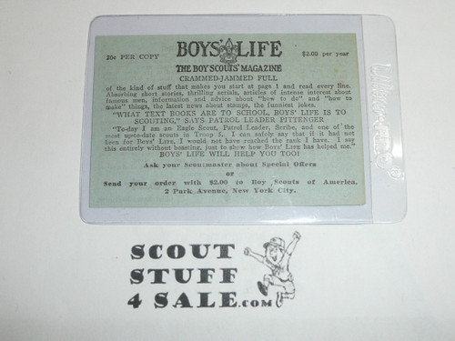 1929-1930's Membership Card Insert with Message from James E. West and sign-up for Boys' Life Magazine
