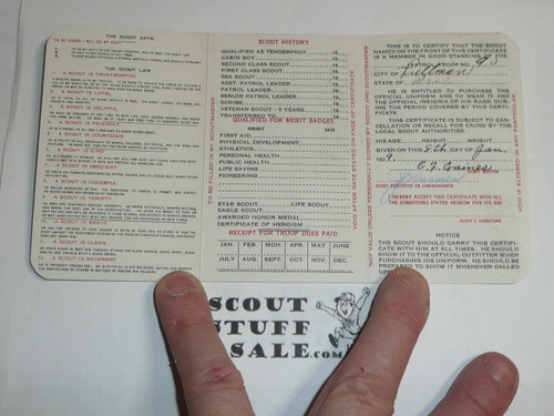1929 Boy Scout Membership Card, 3-fold, 7 signatures, with the envelope, expires December 1929, BSMC16