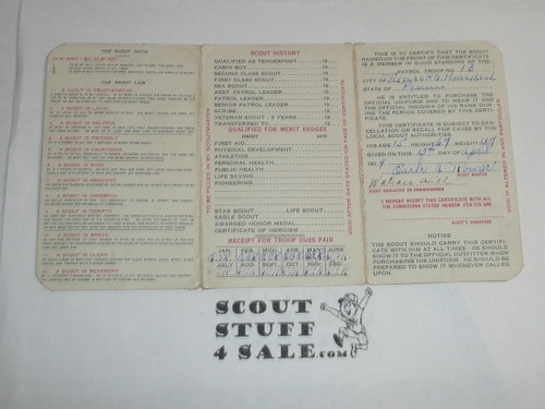 1930 Boy Scout Membership Card, 3-fold, 7 signatures, expires January 1930, BSMC17