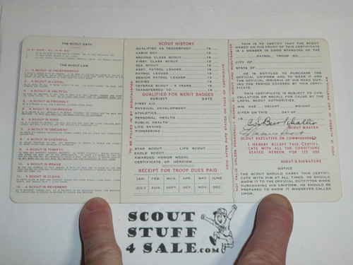1932 Boy Scout Membership Card, 3-fold, 7 signatures, with envelope, expires April 1932, BSMC19