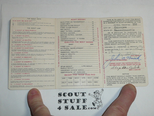 1932 Boy Scout Membership Card, 3-fold, 7 signatures, with envelope, expires June 1932, BSMC20