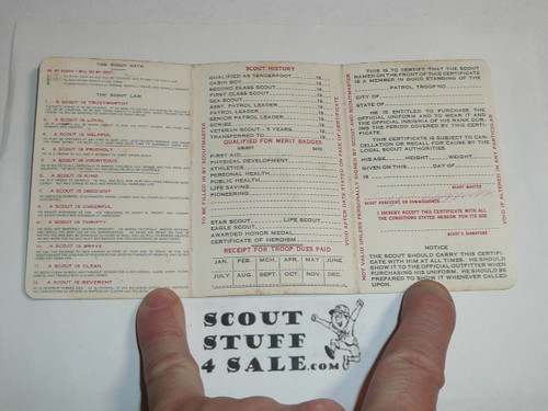 1932 Boy Scout Membership Card, 3-fold, 7 signatures, with envelope, expires November 1932, BSMC22