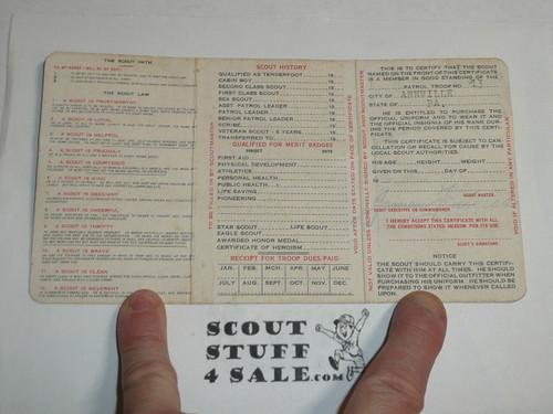 1933 Boy Scout Membership Card, 3-fold, 7 signatures, expires October 1933, BSMC23