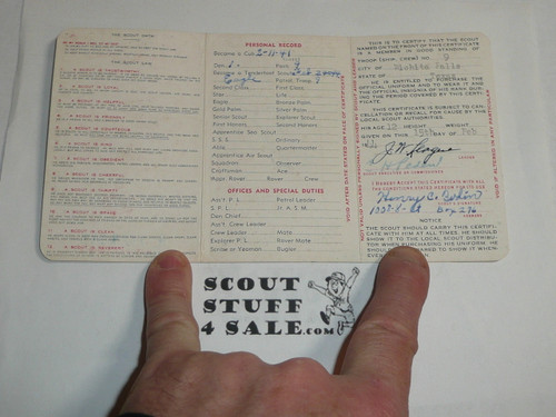 1944 Boy Scout Membership Card, 3-fold, 5 signatures, with envelope, expires April 1944, BSMC42