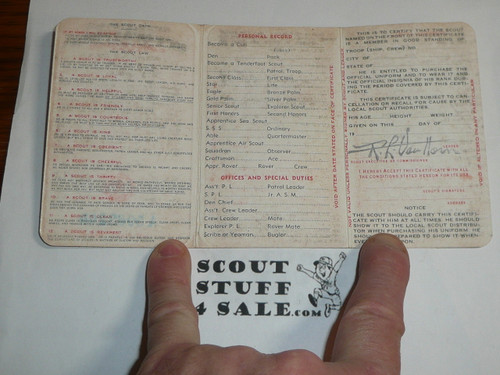1944 Boy Scout Membership Card, 3-fold, 5 signatures, with envelope, expires December 1944, BSMC44