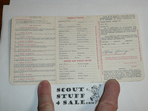 1945 Boy Scout Membership Card, 3-fold, 5 signatures, with envelope, expires March 1945, BSMC45