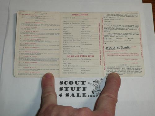 1945 Boy Scout Membership Card, 3-fold, 5 signatures, expires January 1945, BSMC46