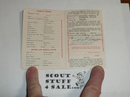 1946 Boy Scout Membership Card, 2-fold, 5 signatures, expires April 1946, BSMC47