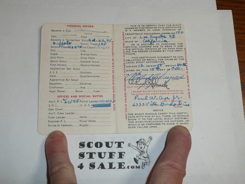 1946 Boy Scout Membership Card, 2-fold, 5 signatures, expires September 1946, BSMC48