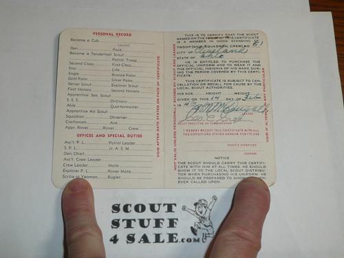 1947 Boy Scout Membership Card, 2-fold, 5 signatures, expires January 1947, BSMC49