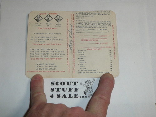 1938 Cub Scout Membership Card, 2-fold, 7 signatures, with envelope, expires November 1938, BSMC50