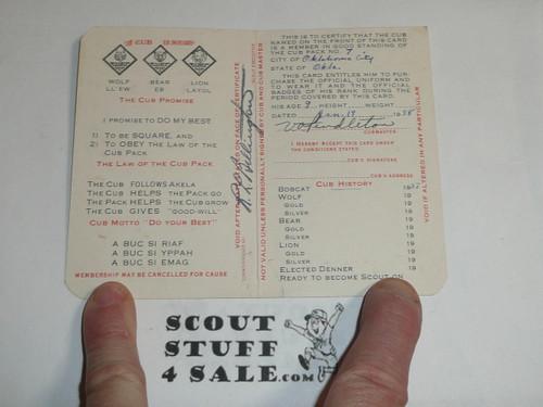 1938 Cub Scout Membership Card, 2-fold, 7 signatures, expires December 1938, BSMC51