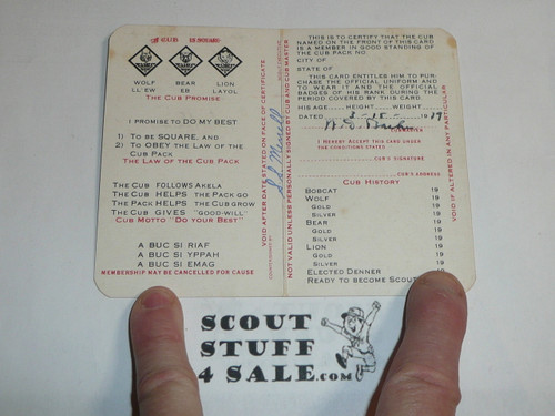 1940 Cub Scout Membership Card, 2-fold, 7 signatures, with envelope, expires February 1940, BSMC52