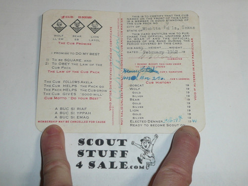 1941 Cub Scout Membership Card, 2-fold, 7 signatures, with envelope, expires December 1941, BSMC53