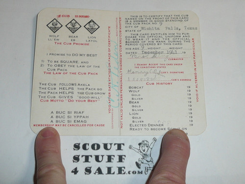 1945 Cub Scout Membership Card, 2-fold, 5 signatures, with envelope, expires November 1945, BSMC55