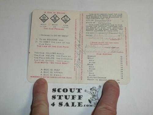 1946 Cub Scout Membership Card, 2-fold, 5 signatures, expires January 1946, BSMC56