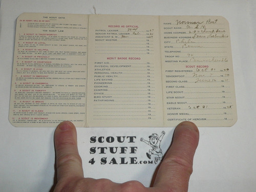 1926 Boy Scout Adult Membership Card, 3-fold, with the Envelope, 7 signatures, expires December 1926, BSMC58